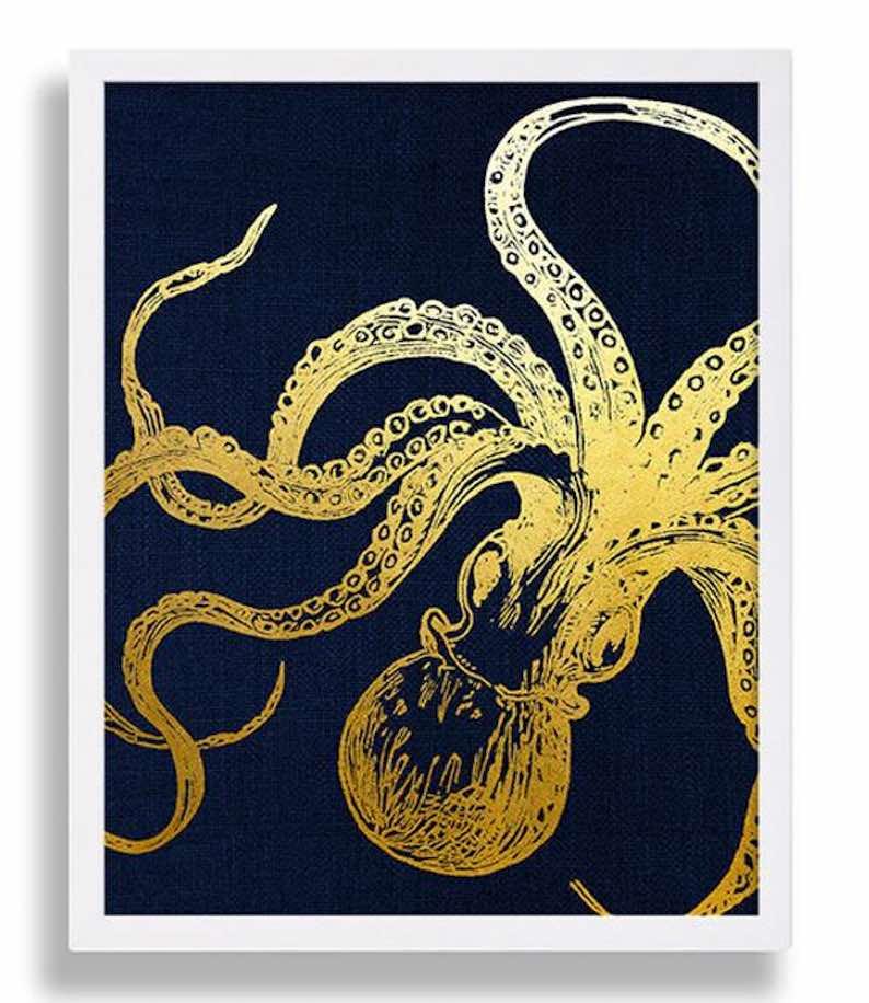 Octopus Art Faux Gold Foil Print