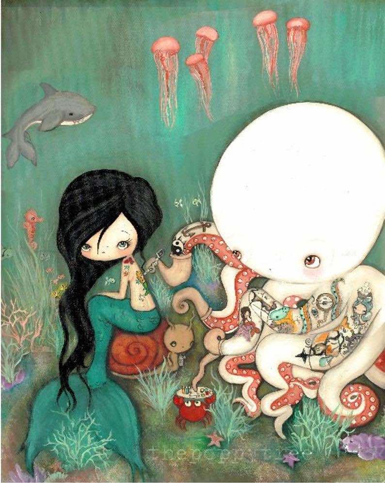 Tattooed Octopus & Mermaid Nautical Art Print