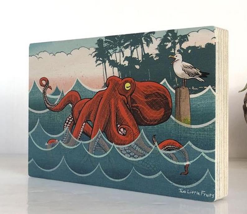 """Bento The Octopus"" Art Print on Wood"