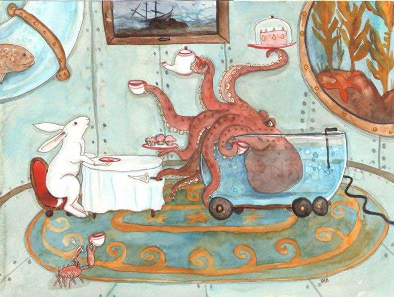 Tea with Octopus – Fine Art Rabbit Print