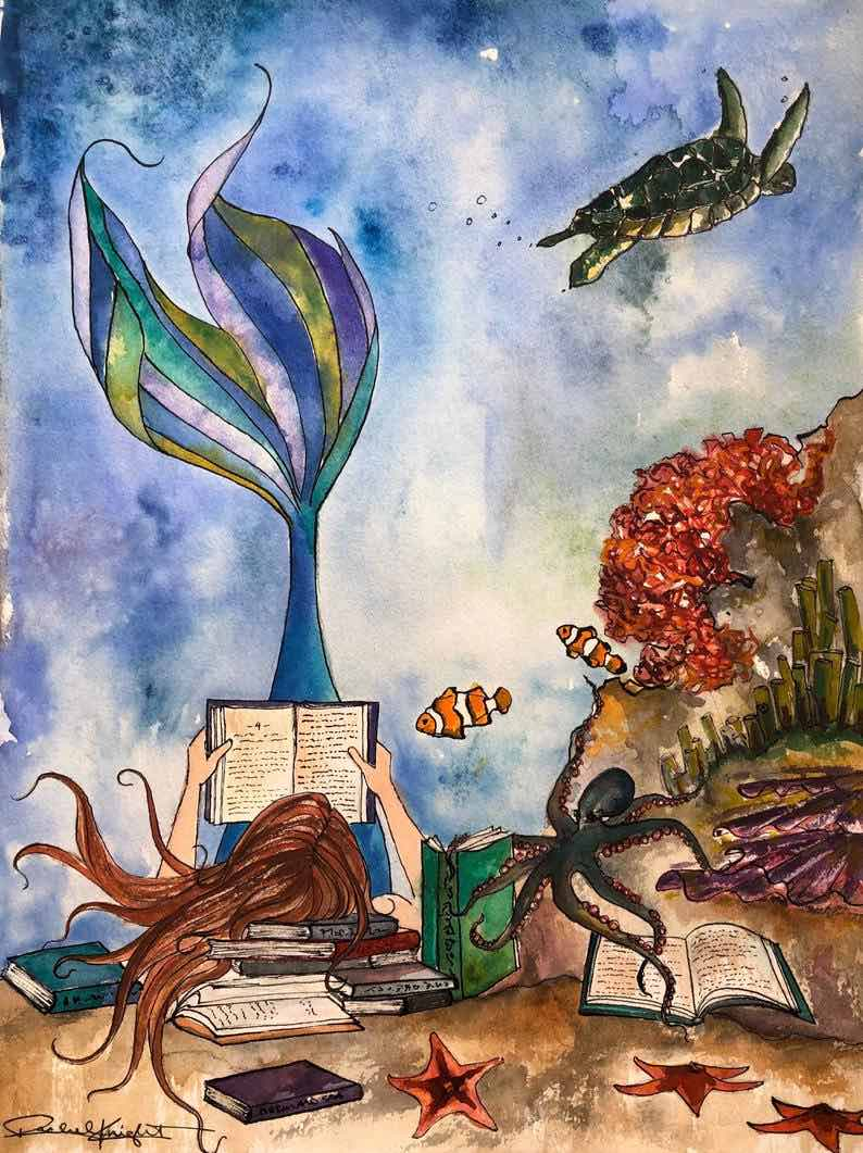 The Mermaid & the Octopus, Watercolor Art Print