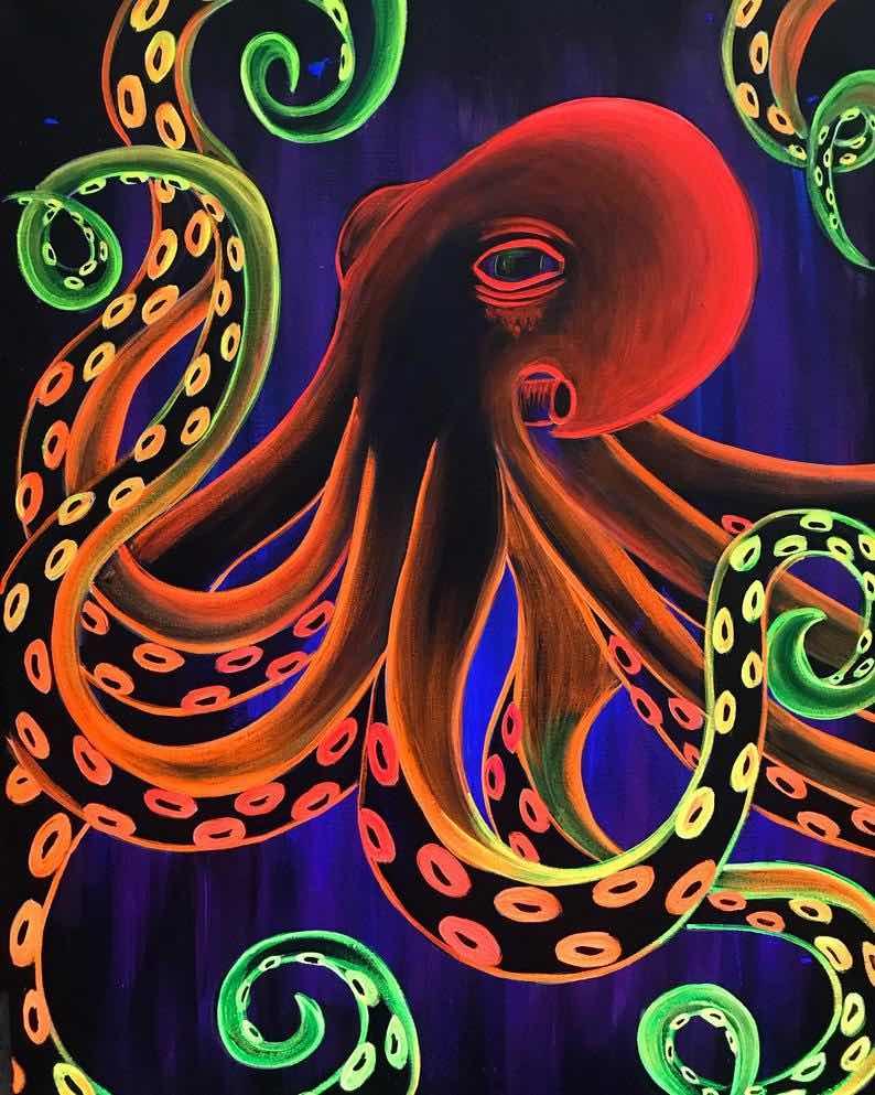 Octopus Blacklight Painting