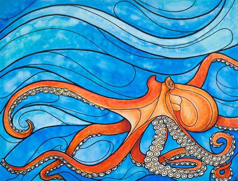 """""""Mobilis in Mobile"""" Octopus painting art print"""