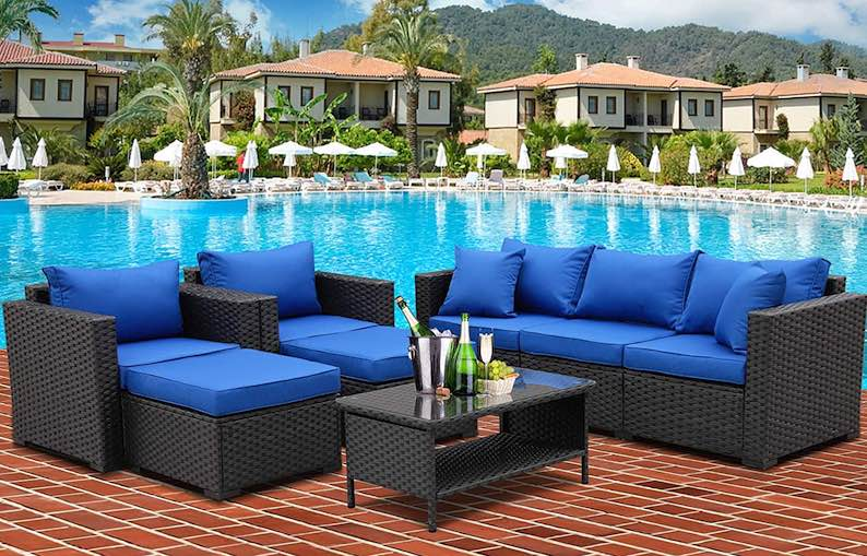 6 Piece Patio Wicker Furniture Set