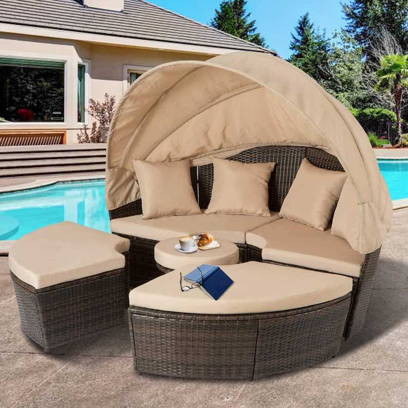 Aoxun Outdoor Patio Daybed Backyard Round Bed with Retractable Canopy