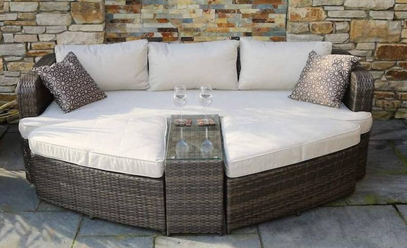 Direct Wicker Marrakesh Outdoor 4-Piece Brown Wicker Daybed Sectional Set