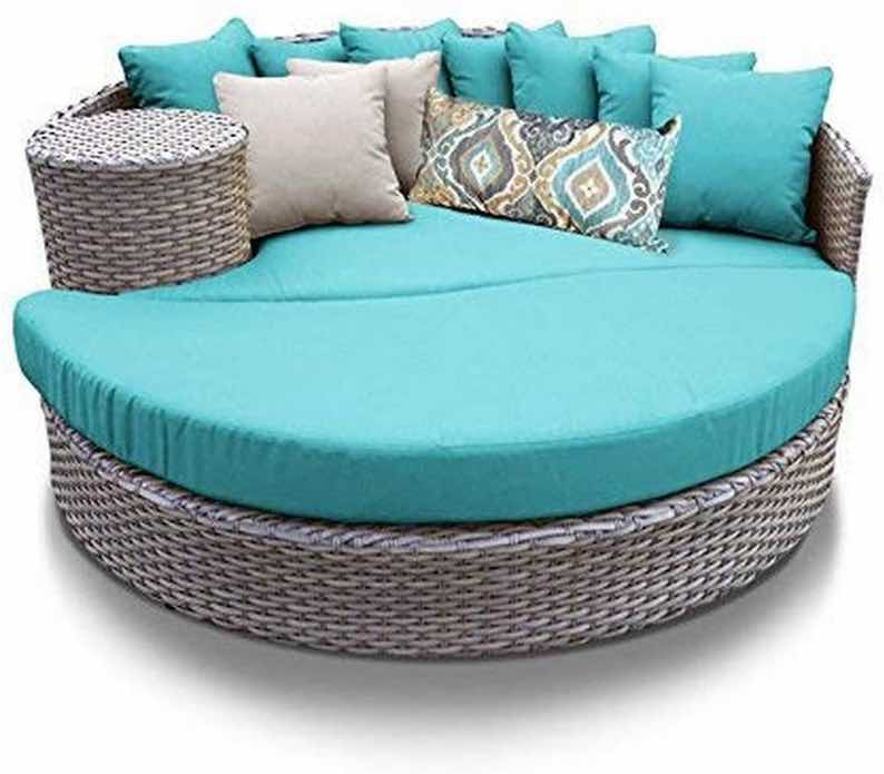 TK Classics Oasis Outdoor Wicker Patio Circular Sun Bed