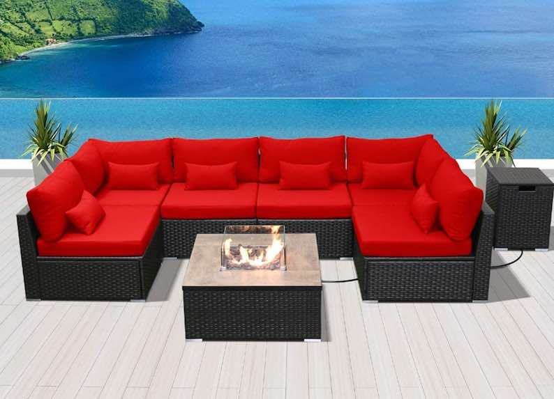 DINELI Patio Furniture Sectional Sofa with Gas Fire Pit