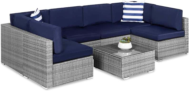 Best Choice Products 7-Piece Modular Outdoor Sectional Wicker Patio Furniture Conversation Set
