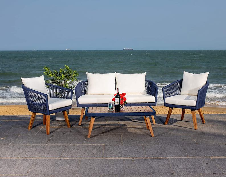 Safavieh Outdoor Collection Velso Navy and Beige 4-Piece Patio Set