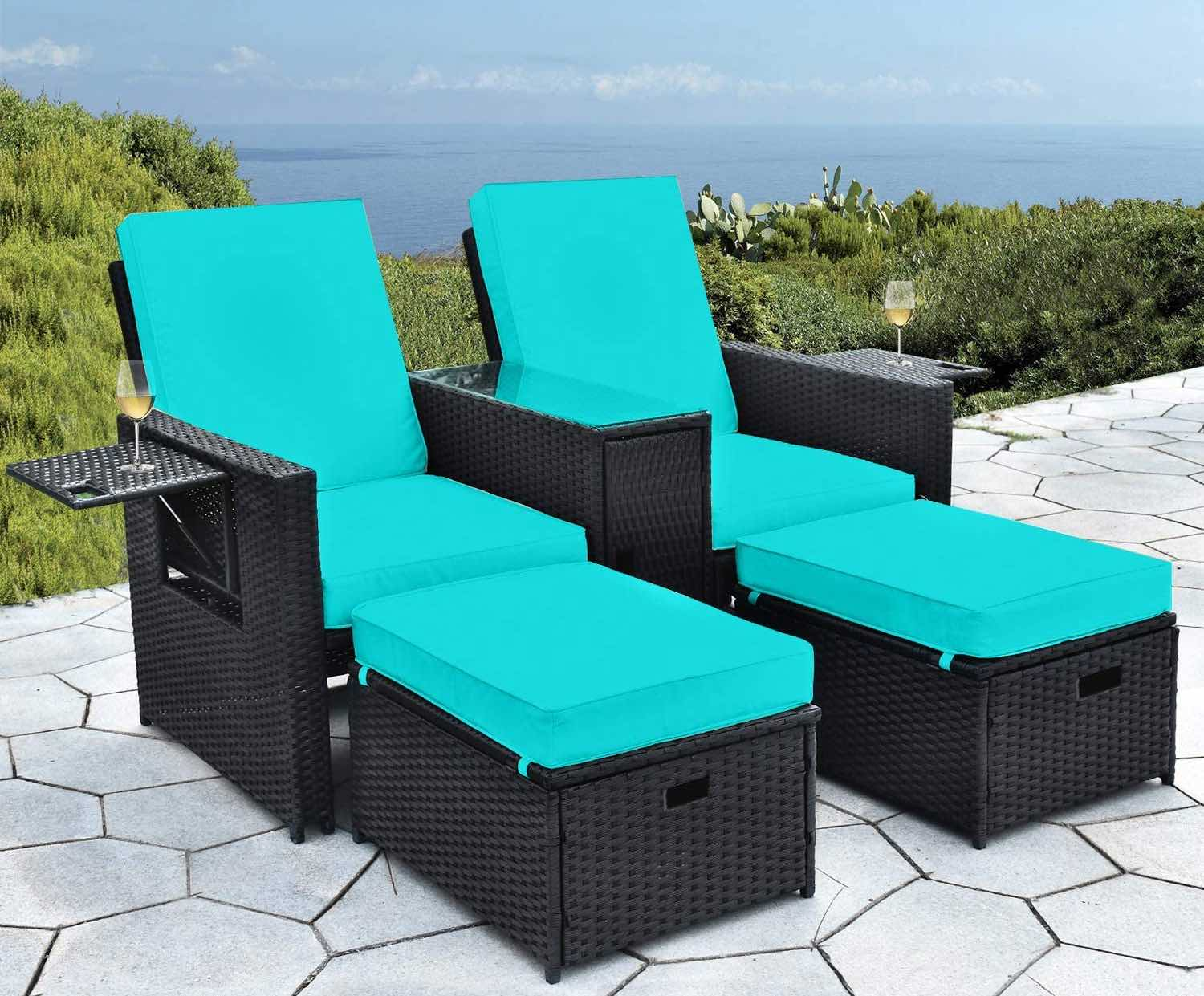 B BAIJIAWEI 5pcs Patio Wicker Loveseat – Outdoor Rattan Sofa Set