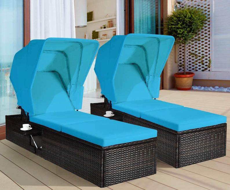 Tangkula 2PCS Outdoor Chaise Lounge Chair with Folding Canopy