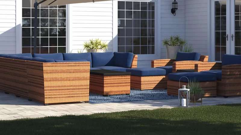Waterbury 13 Piece Wicker Sectional Seating Group with Cushions