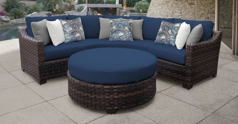 River Brook 4 Piece Outdoor Rattan Sectional Seating Group with Cushions