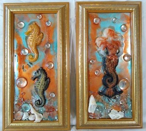 artist: Andy Stevens - resin mermaids and seahorses