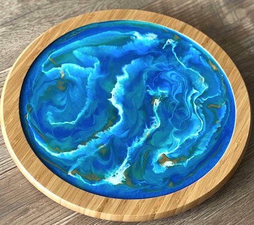rtist: Beth Sautner - resin ocean in wood frame