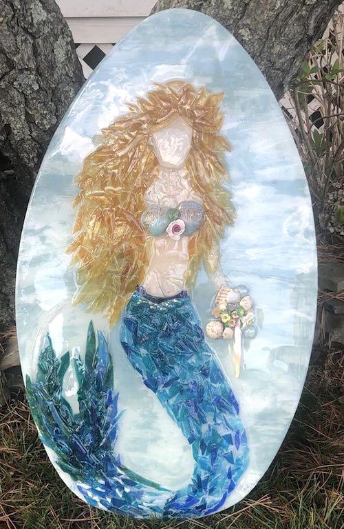 artist: Carol McCabe - resin mermaid on classic skimboard
