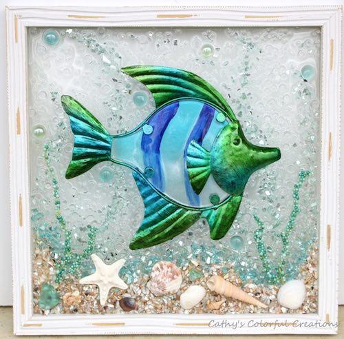 artist: Cathy Michael - fish mural in resin