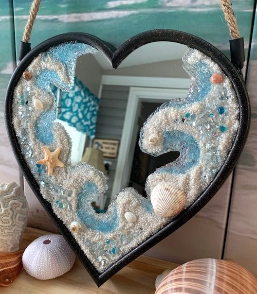 artist: Debbie Rathbun - resin and shells beach heart