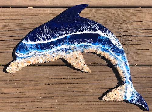 artist: Dixie Lee - baby dolphin ocean resin