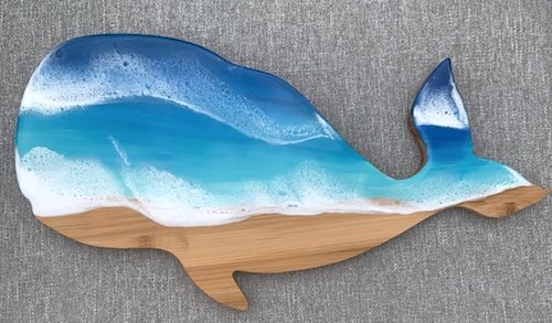 artist: Elise Byron - resin and wood whale (resin ocean art)