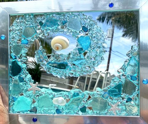 artist: Janet Martin - beach glass and resin wave