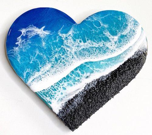 artist: Kara Ivey - resin ocean heart (beach resin art)