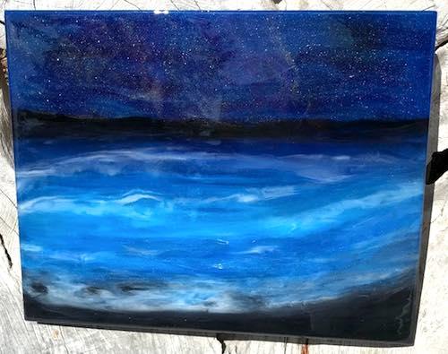 artist: Kari Brautigan - ocean at night resin sculpture