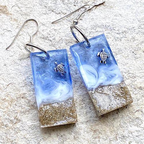 artist: Kathy Kuchta - resin and turtles ocean earrings