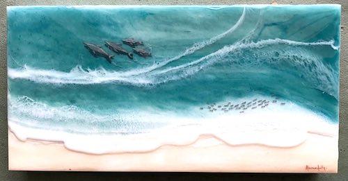 artist: Kelly Daszynski - dolphins on the shoreline resin painting (resin ocean painting)
