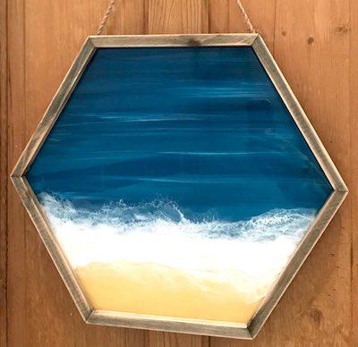 artist: Kerry Thompson - resin seascape portal painting (resin ocean painting)
