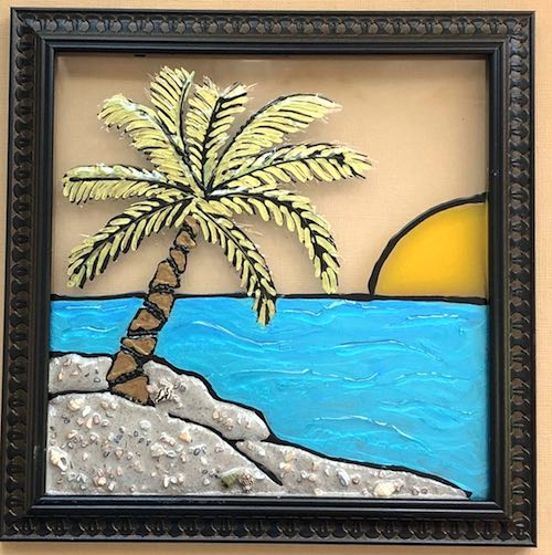 artists: Kim and Robin - palm tree on a beach resin