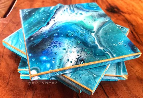artist: Kirsty Penny - ocean resin square coasters