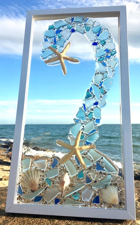 artist: Linda Wright - beach glass and resin wave sculpture