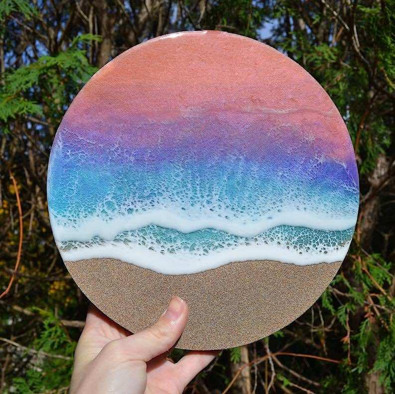 """Sunset Ocean"" Resin Art Beach"