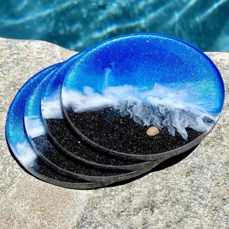"Black Beach"" Resin Art Coasters"