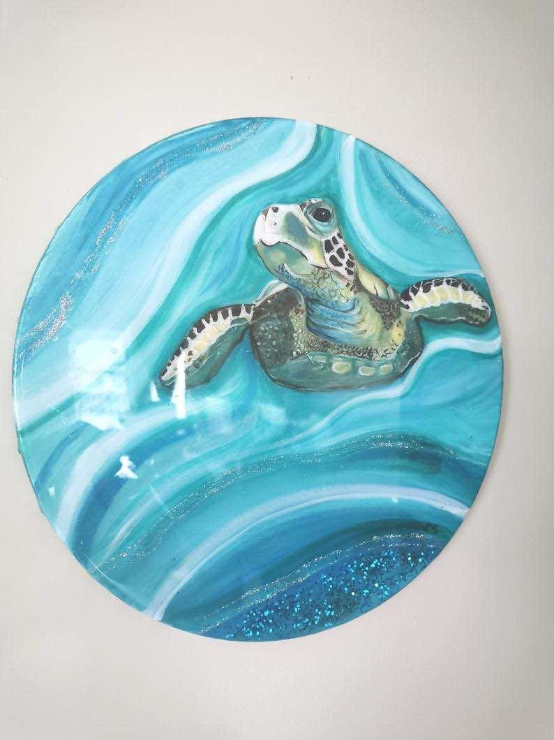 Resin Art Ocean with Sea Turtle
