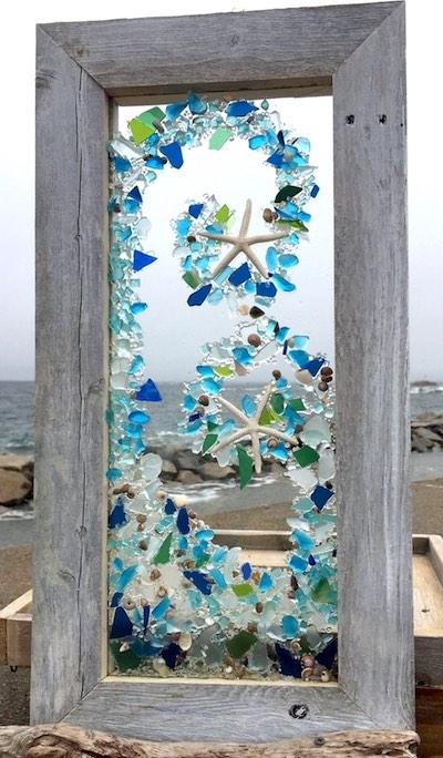 artist: Ree Martin - resin and seaglass ocean sculpture