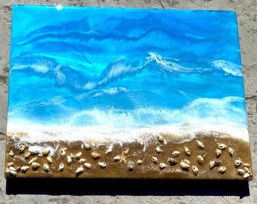 artist: Renee Randall - resin and seashell beach scene (resin beach art)