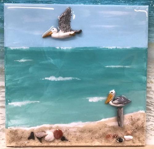 artist: Sheryl Toth - pelicans at the beach 3D resin painting (seashells in resin)