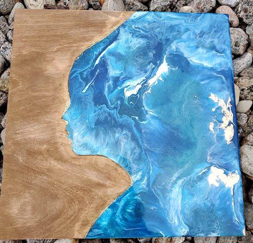 artist: Sylvie Caron - resin and wood ocean silhouette (resin ocean art)