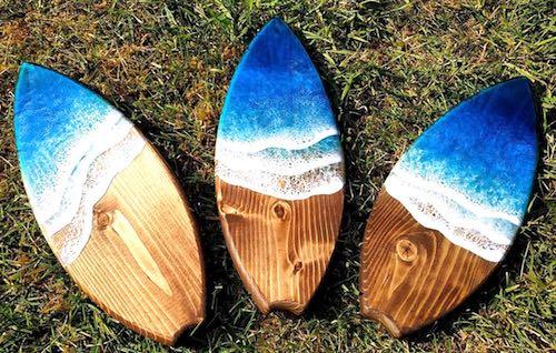 rtist: Tegan Randall - ocean resin mini-surfboards