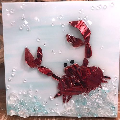 artist: Vicky Smith - resin and broken glass crab