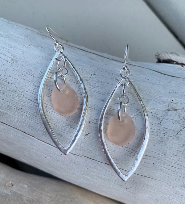 Pink Sea Glass Dangle Drop Earrings