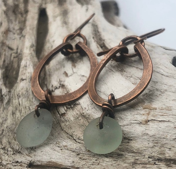 Beach Glass and Copper Earrings