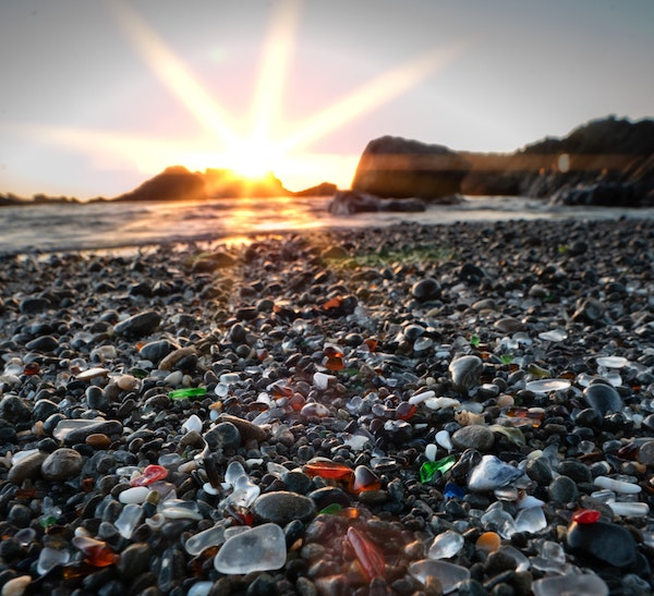 A spot with great Sea Glass is in Fort Bragg, California. Glass Beach
