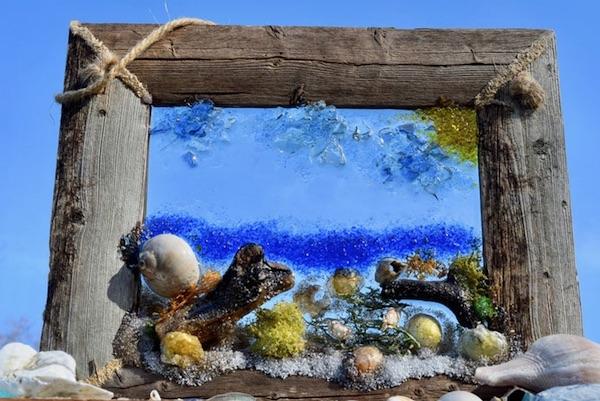 Sea Glass Resin Beach