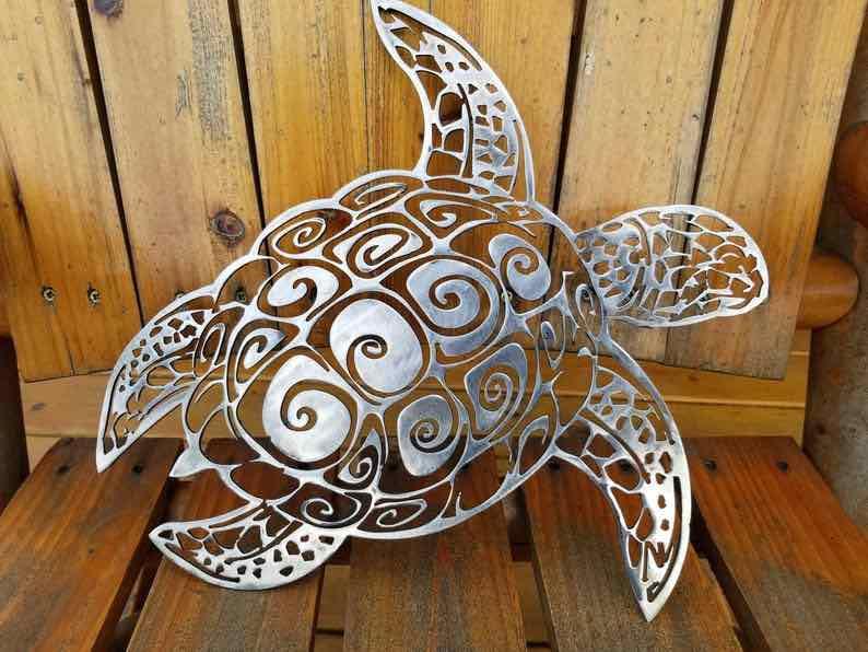 Metal Sea Turtle Sign Art