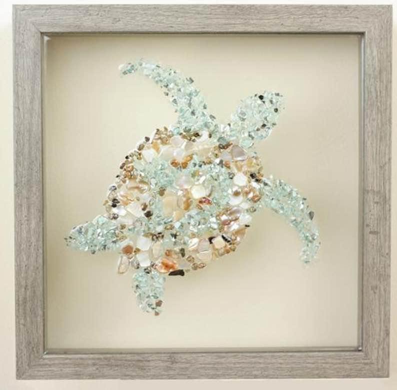 Sea Glass & Epoxy Sea Turtle