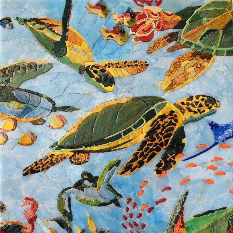 >Sea Turtles and Fish Petal Marble Mosaics
